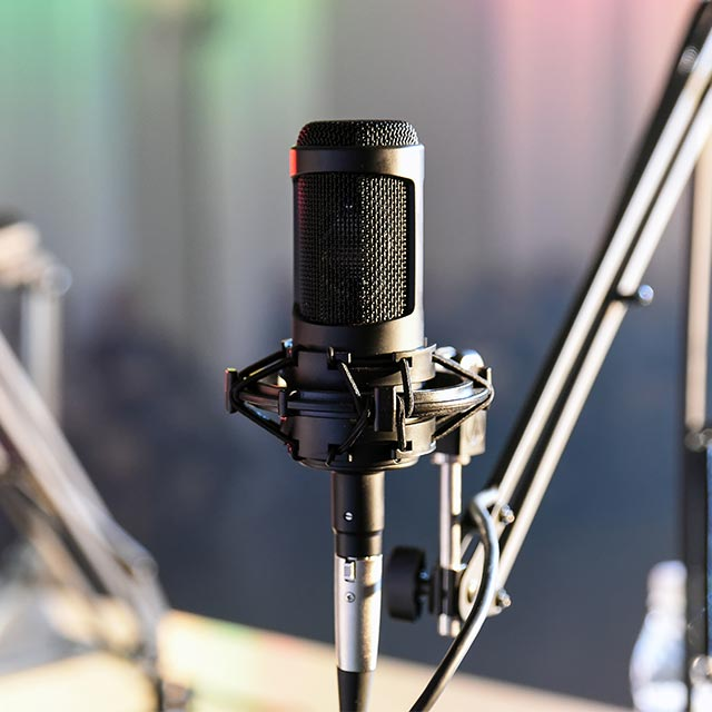 Microphone in a radio studio